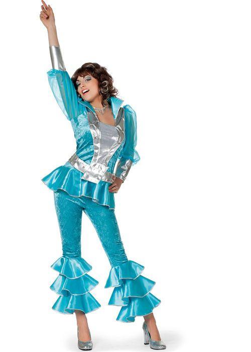 Ladies 70s Blue Mamma Mia Style Costume Wilbers Mammamia Disco