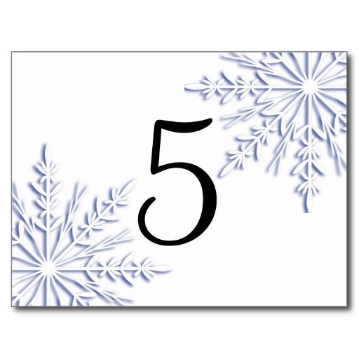 Blue Snowflakes Table Number Post Cards