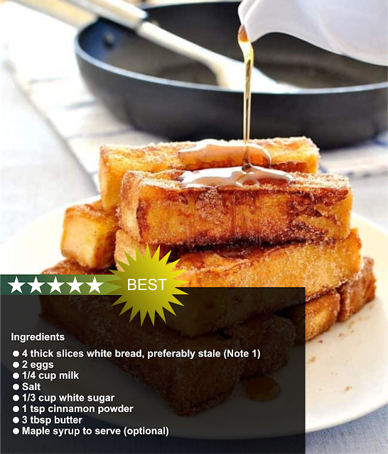 French Toast You Can Eat With Your Fingers And Tastes Like Cinnamon Doughnuts Ingredients 4thick Slices White Bread Preferably Stale Note 1 2eggs 1 4cupmi
