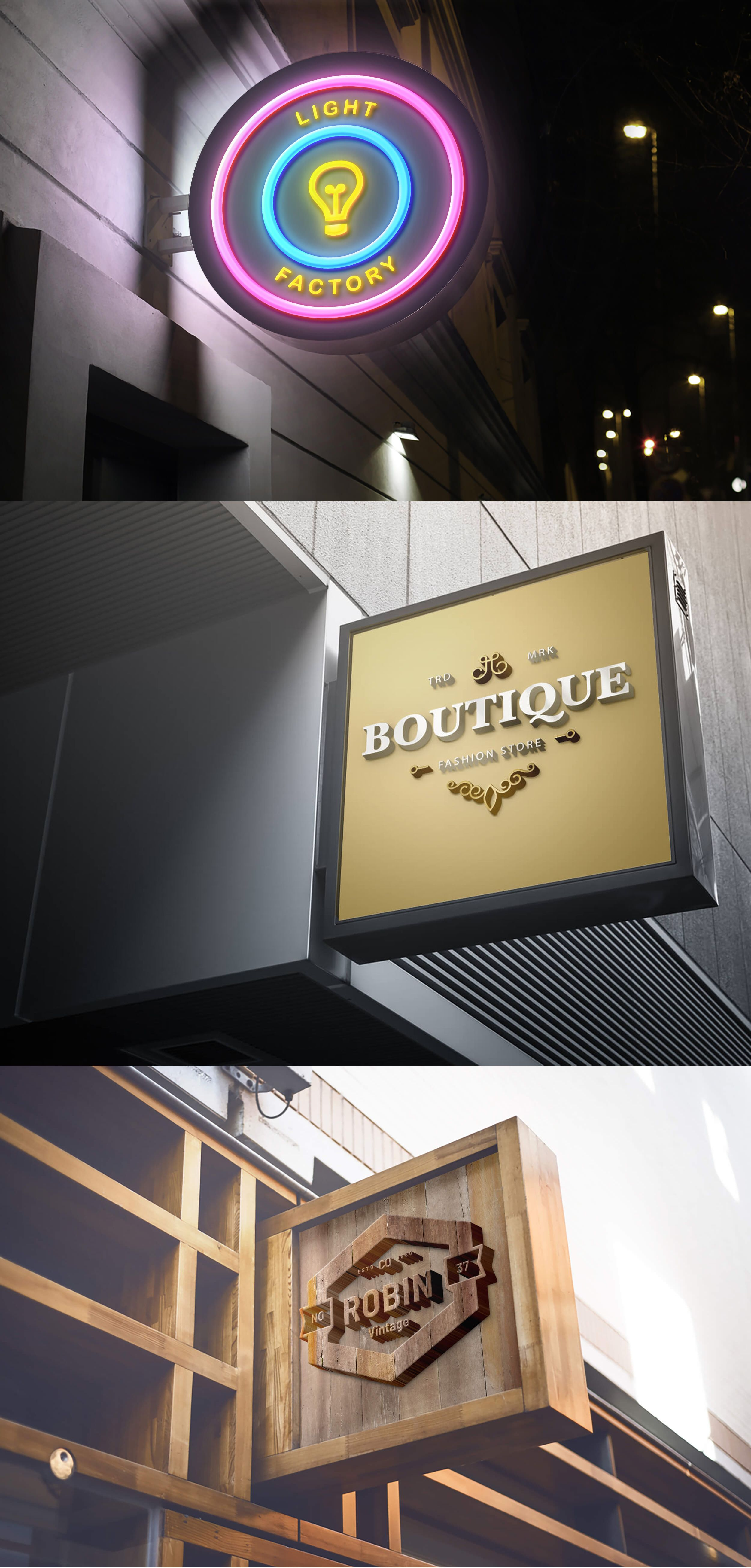 Outdoor Wall Mounted Signboard Mockups Signage