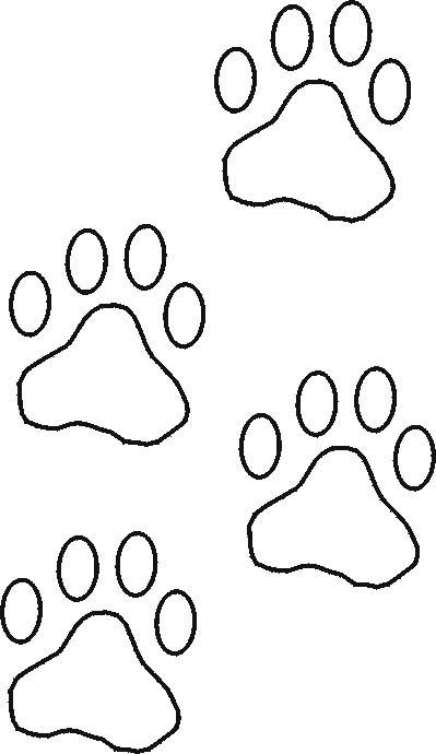 Free stencils collection dog stencils construction paper front cut out construction paper paw prints and tape them going up a wall or to the pronofoot35fo Choice Image
