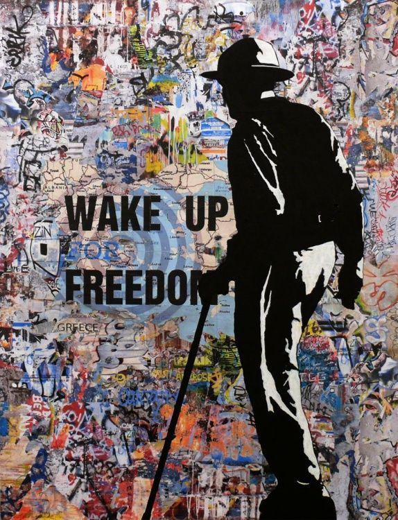 Tehos - Wake up for Freedom   Collage, Acrylics and Paintings