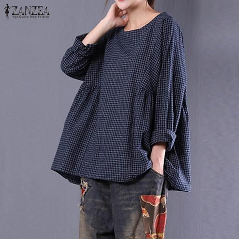 928422766c1 ZANZEA New Women Round Neck Long Sleeve Loose Blouse Cotton Linen Vingtage  Plaid Shirt Blusas Autumn Oversized Tops M-5XL 2018