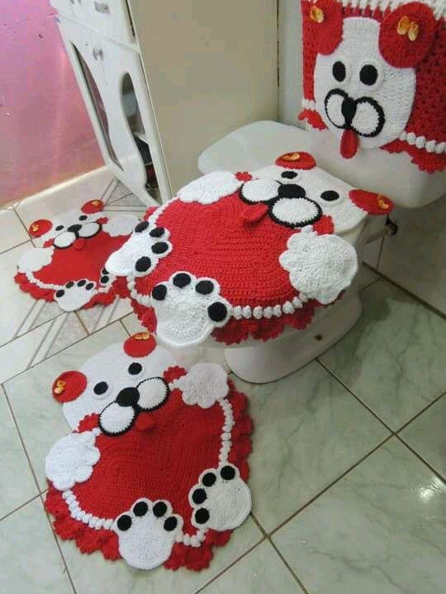 Jogo De Banheiro De Gato Croche : Jogo de banheiro em croch? pe?as croche infantil