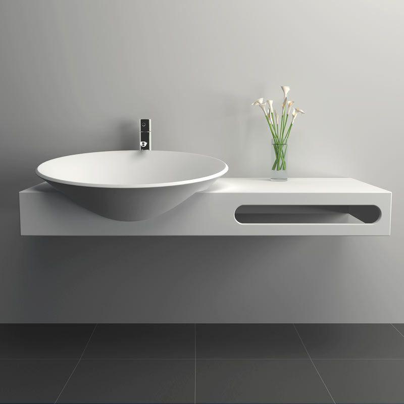 Plan Vasque Suspendu 100x54 Cm Matiere Composite Mineral Meuble Vasque Decoration Maison Renovation Maison