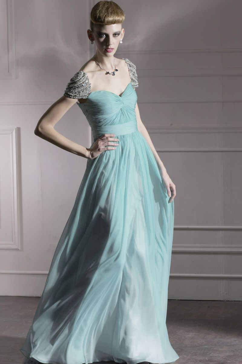 Teal chiffon prom dress with silver jewels unique chiffon