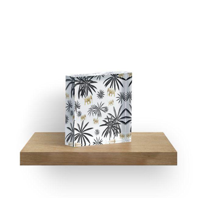 Palm Tree Elephant Jungle Pattern #1 (Kids Collection) #decor #art | Acrylic Block #junglepattern