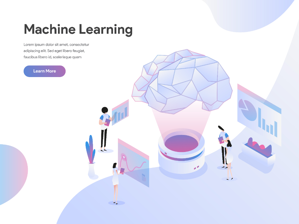 Download Landing Page Template Of Machine Learning Illustration Concept Flat Design Concept Of Web Page Design For Webs Page Design Concept Design Flat Design