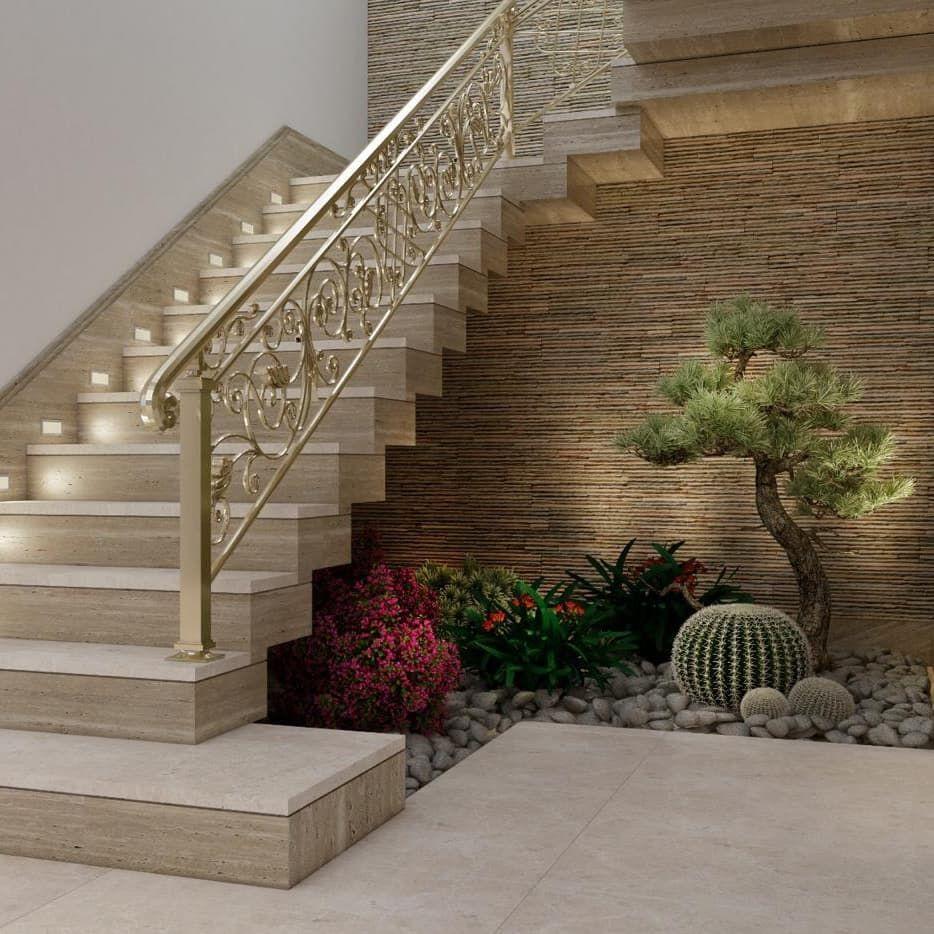 أحد أعمالنا لاستغلال المساحة أسفل الدرج بعمل حديقة صناعية وخلفية من الحجر الطبيعي من أعمالنا مدخل فيلا مودرن بعد التصميم وأثنا Indoor Gardens Home Decor Decor