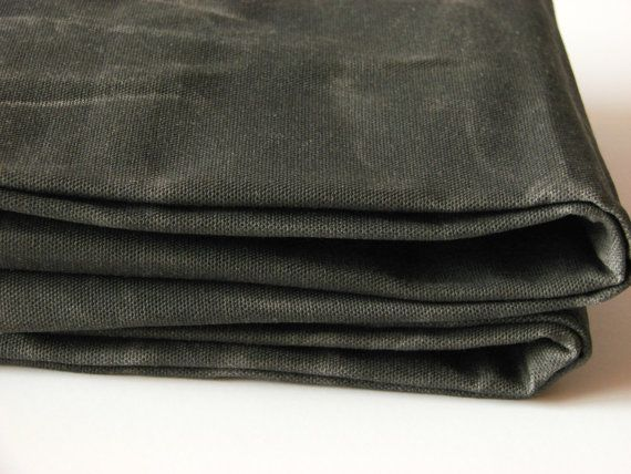 Hand Waxed Canvas Fabric Dark Olive 1 Yard By Alfrancesdesigns