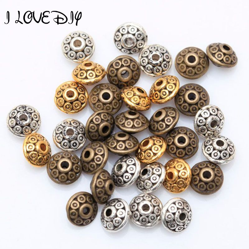 200 Bulk Tibetan Silver Loose Spacer Beads For Jewelry Making Charms 6mm 8mm