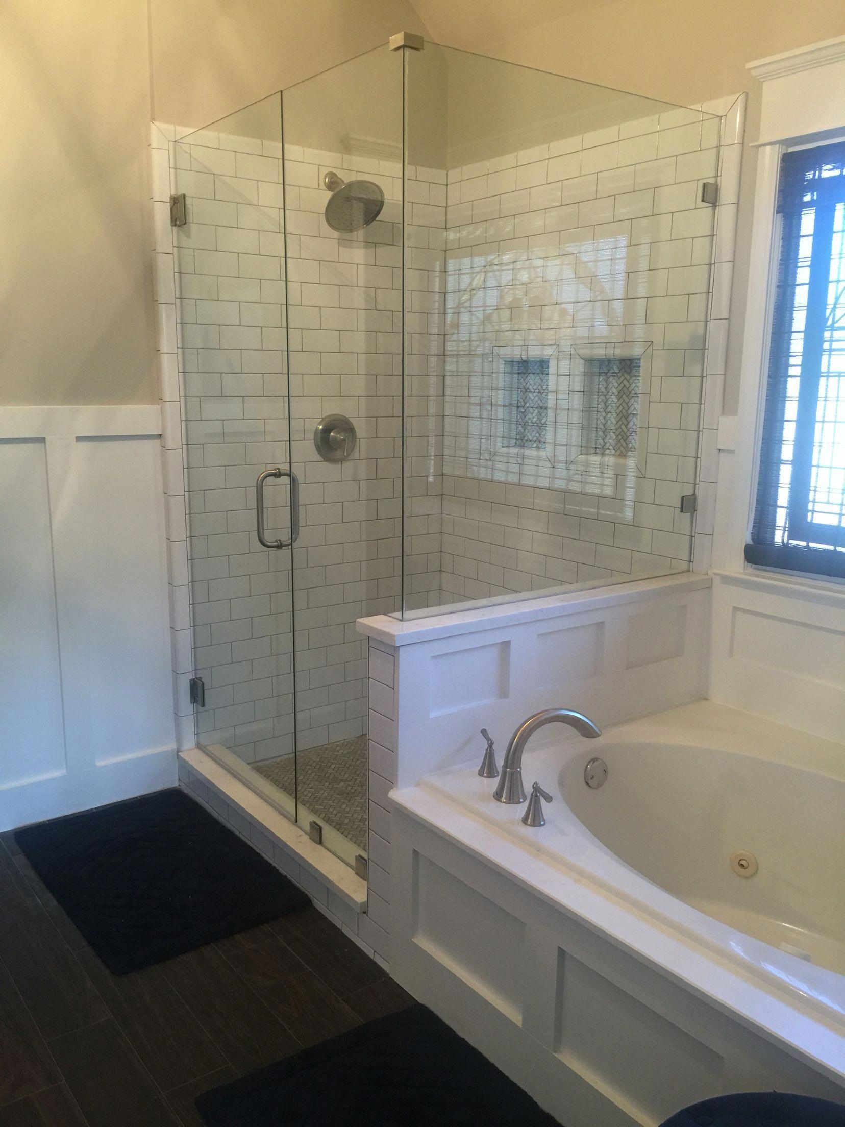 White Subway Tile Gray Grout Frameless Shower Dark Brown Wood Tile Flooring Bathroomtilefloordark Wood Tile Bathroom Wood Tile Bathroom Floor Tile Bathroom