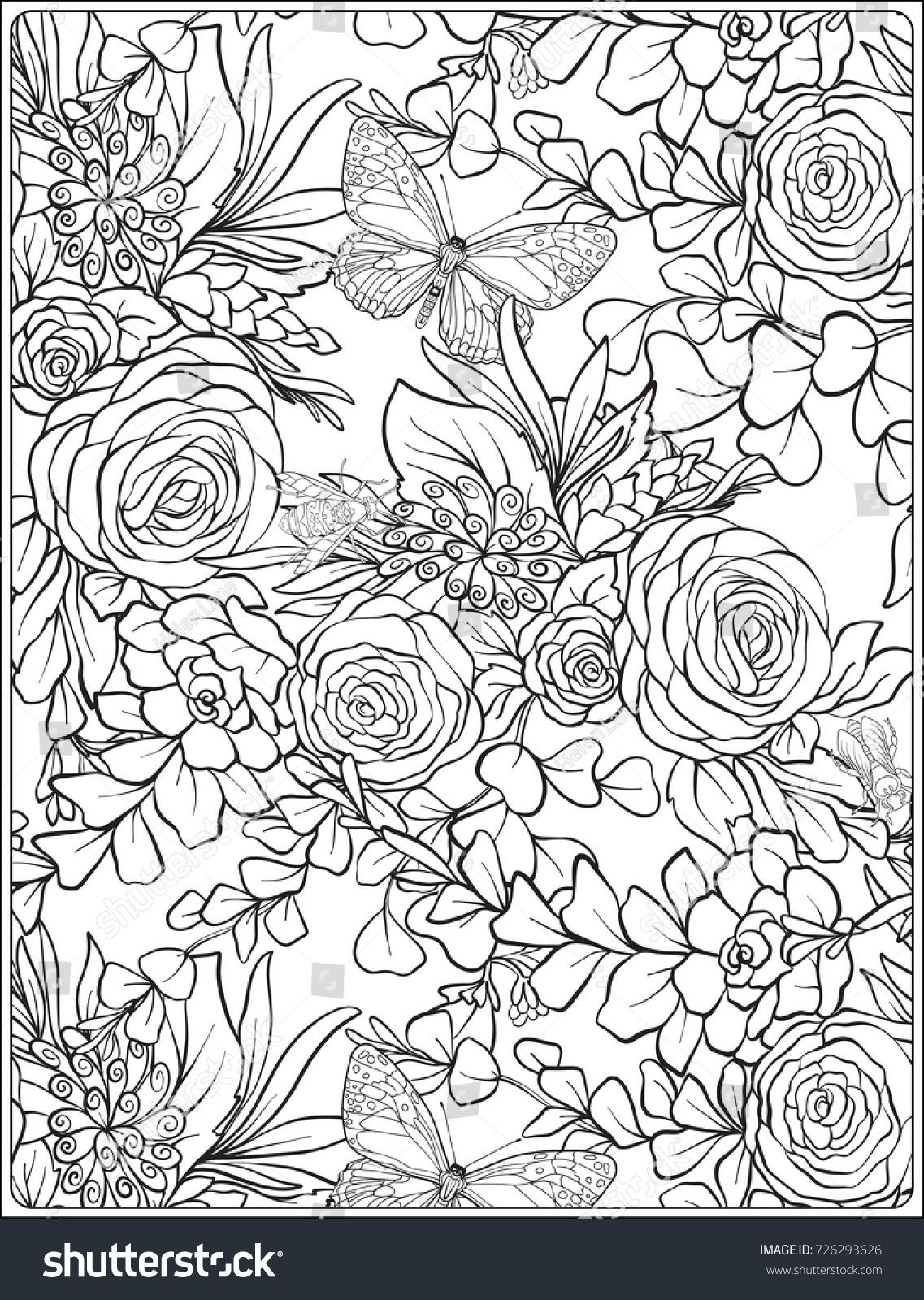 Floral Seamless Pattern With Butterflies And Bees In