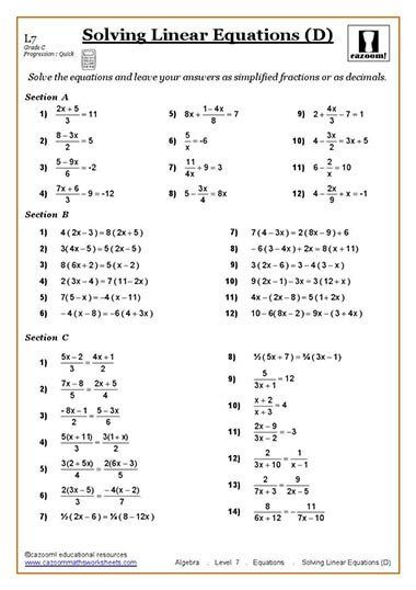 Solving Equations Maths Worksheet Algebra Worksheets Solving Linear Equations Pre Algebra Worksheets