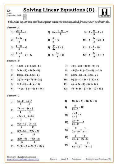 Solving Equations Maths Worksheet School helpers Pinterest - algebraic multiplication worksheet