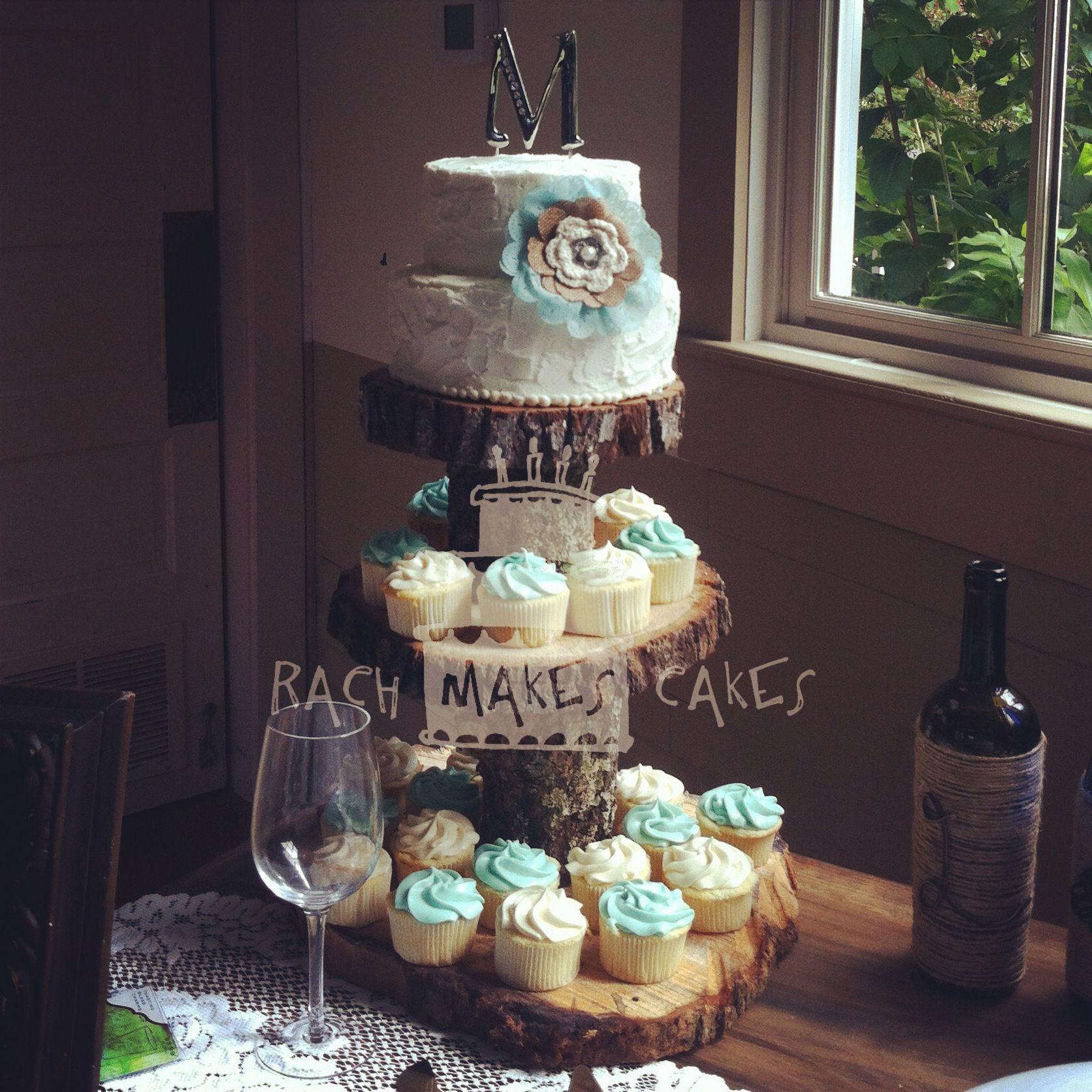 Burlap Amp Teal Wedding Cake And Cupcakes