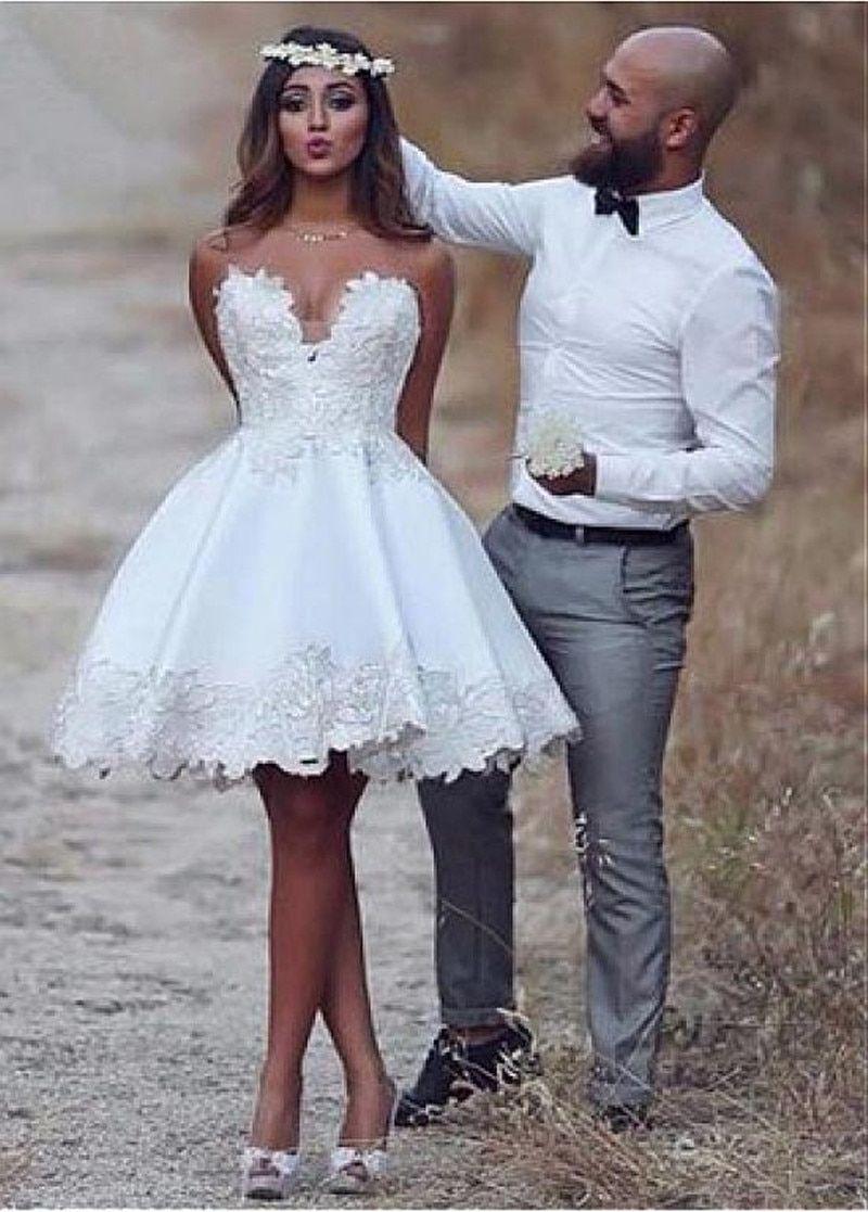 Eightale Short Wedding Dress A Line Stain Lace Appliques Summer Cute Sleeveless Wedding Gow Knee Length Wedding Dress Short Wedding Dress Wedding Dresses Satin [ 1117 x 800 Pixel ]