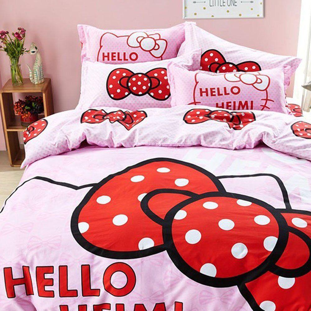 4 Pieces Pink Girls Cartoon Bedding Sets Kids Fancy Design