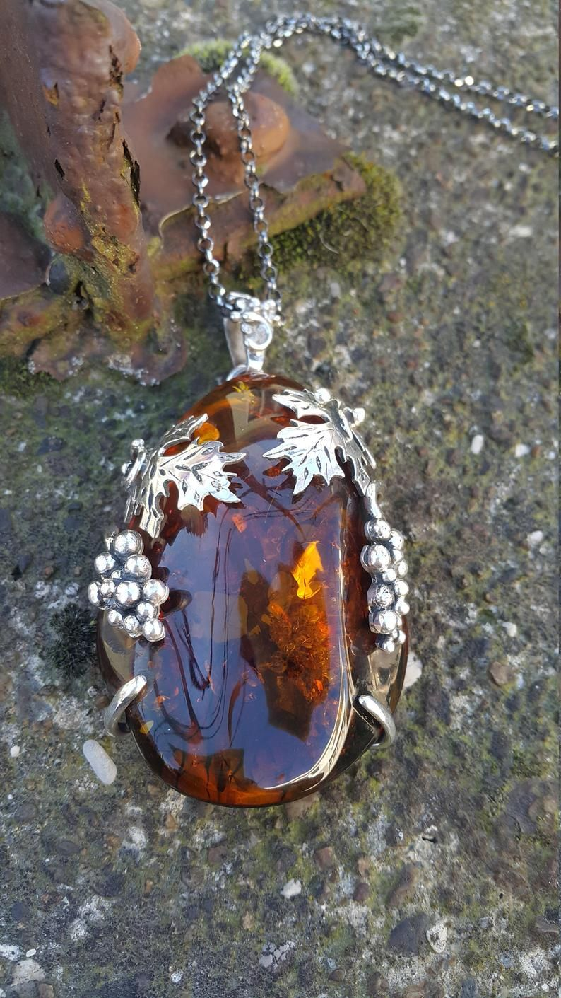 Unique Design Huge Baltic Amber Pendant- Natural and Completely Handmade & Silver
