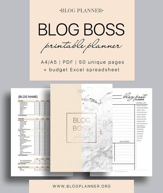 This planner bundle of 50+ printable pages and yearly budget Excel