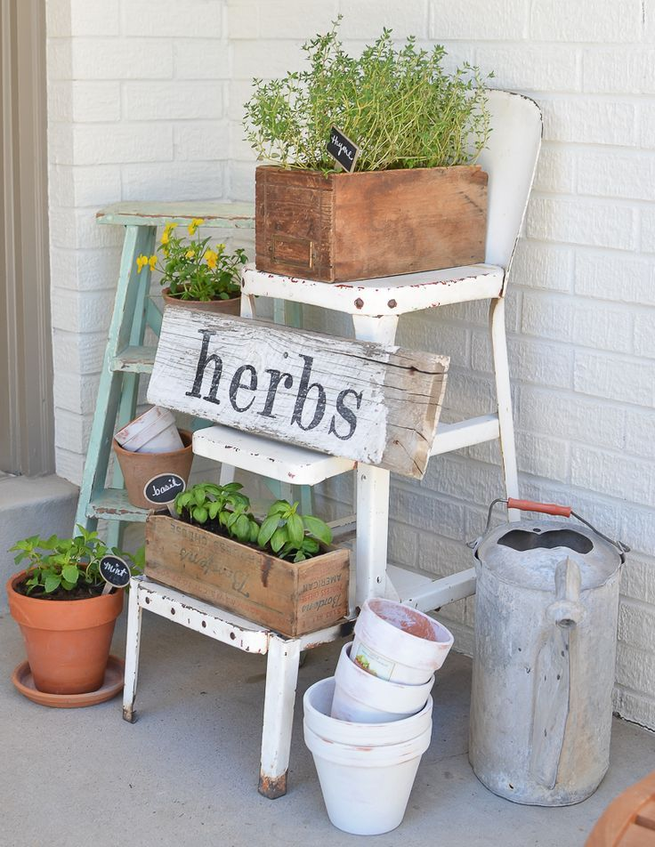 Diy Herb Garden With Vintage Boxes In 2020 Front Porch Garden