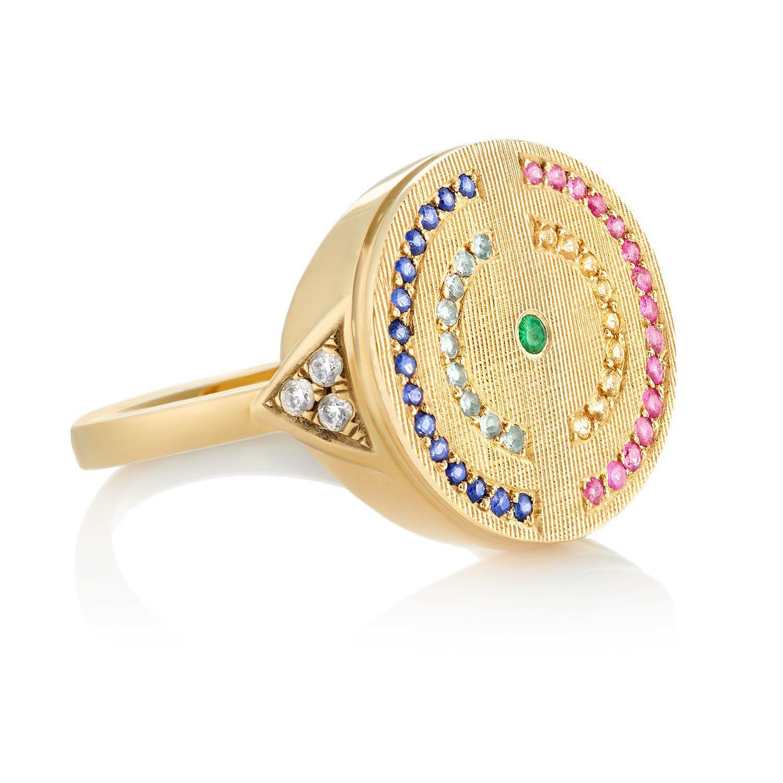 English Garden Signet Ring in 18K Gold - Yellow Gold / Florentine