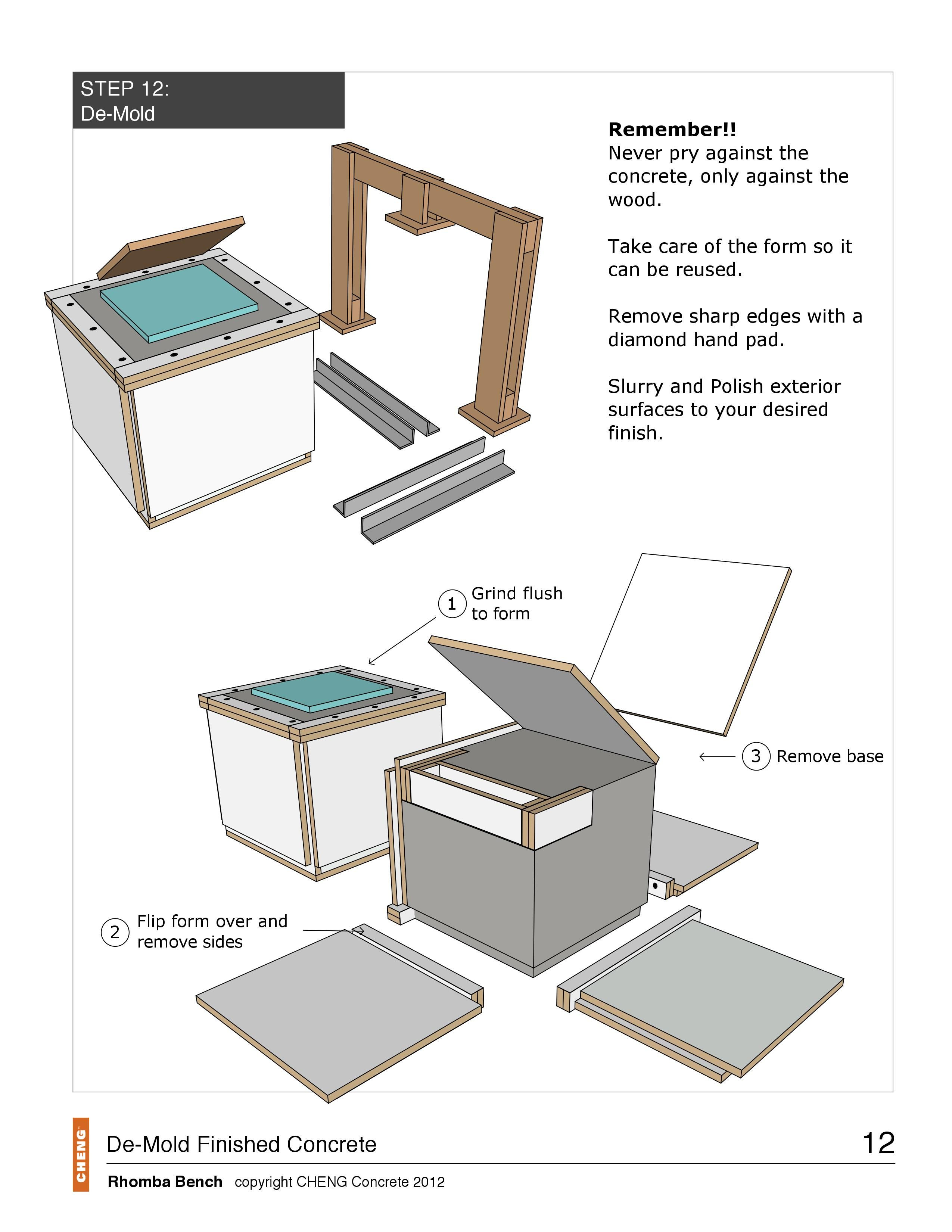 Rhomba Bench Project How To Drawings Concrete Outdoor Furniture Bed Woodworking Plans Deck With Pergola
