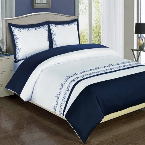Modern Navy Blue White Embroidered Floral 100 Percent Cotton Duvet Comforter Cover And Shams Set Luxu Blue Duvet Cover Nautical Bedding Sets Duvet Cover Sets