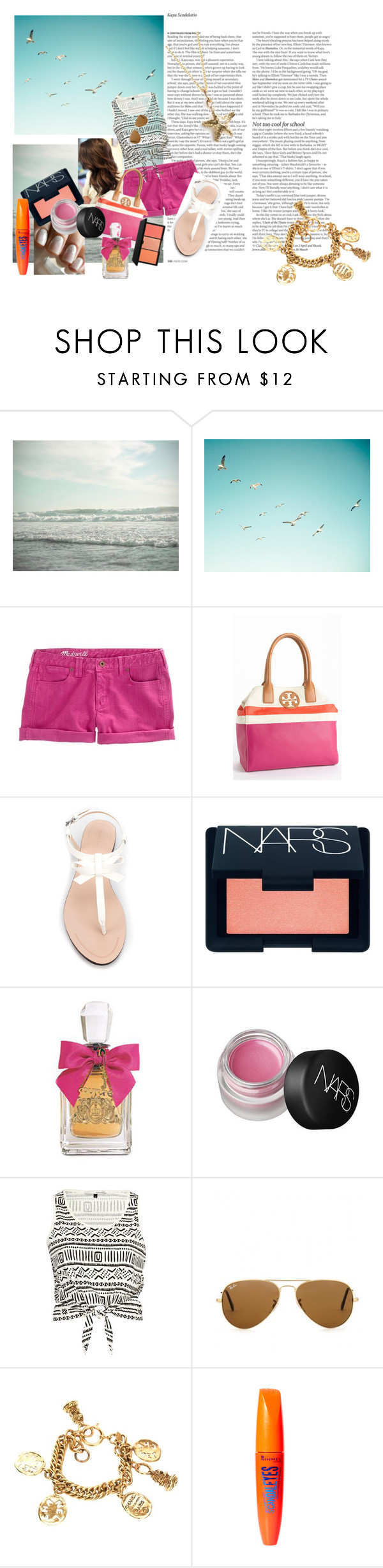 """""""Summer's Eve"""" by cassie142 ❤ liked on Polyvore featuring ASOS, Madewell, Tory Burch, Essie, Zara, NARS Cosmetics, Juicy Couture, River Island, Ray-Ban and Chanel"""