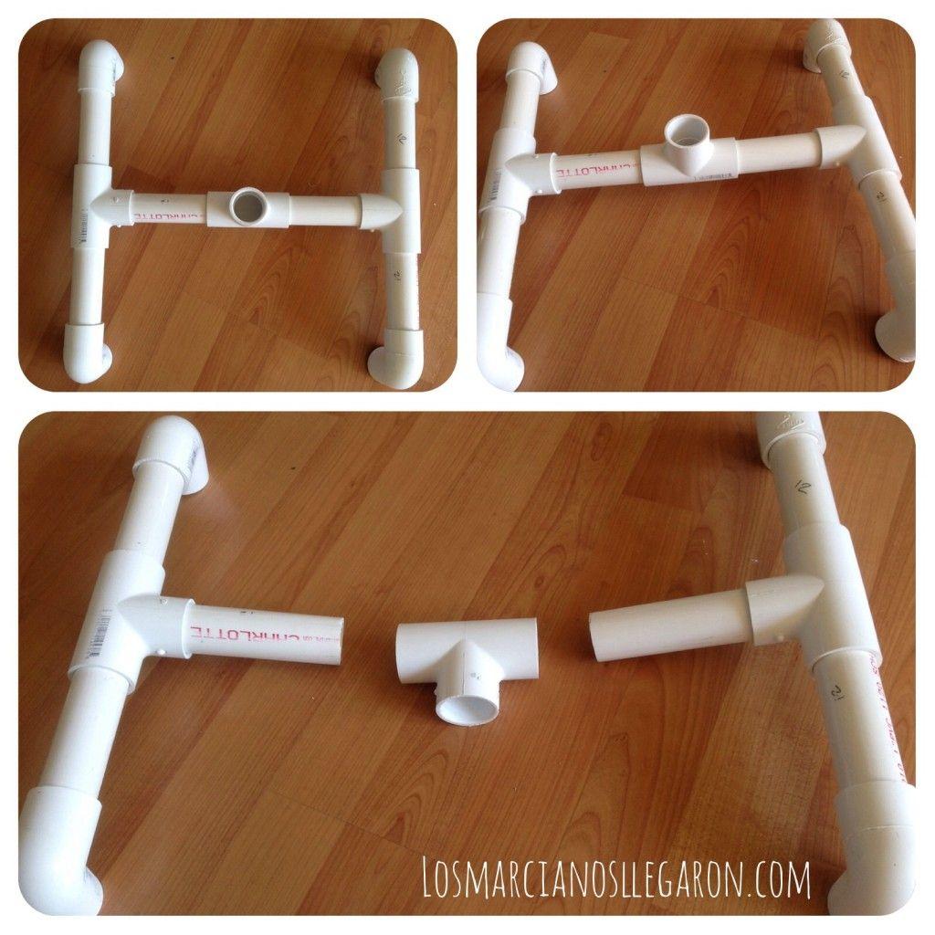 Perchero casero hecho con tubos de pvc curso de for Medidas de tubos de pvc