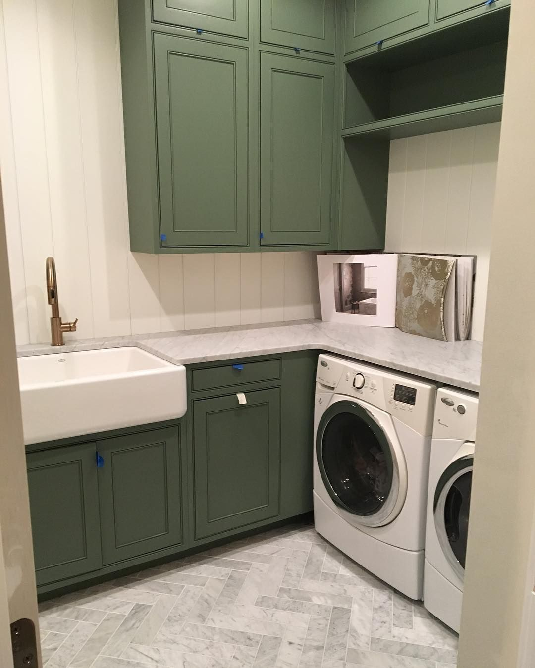 Benjamin Moore Lush AF-475 on laundry room cabinets ...