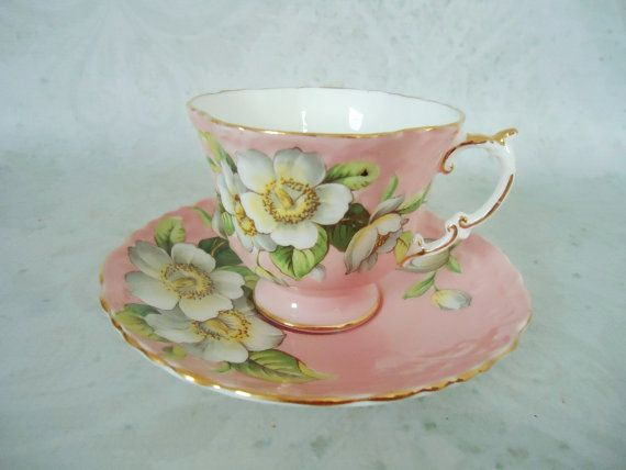 Pink+Blossom+Teacup+and+Saucer+Set+Vintage+by+SwirlingOrange11,+$75.00