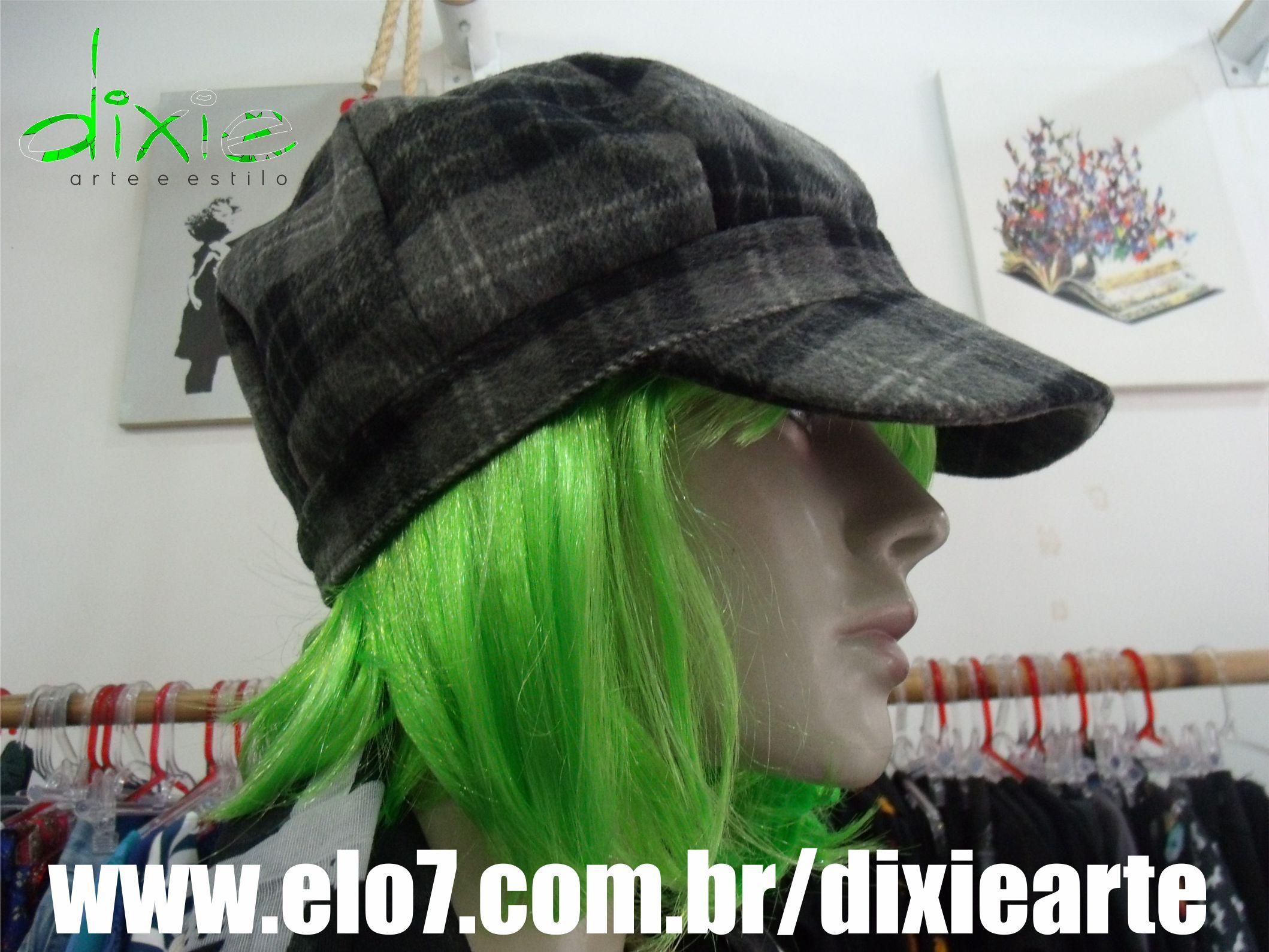 Boina Xadrez Cinza   www.elo7.com.br/dixiearte