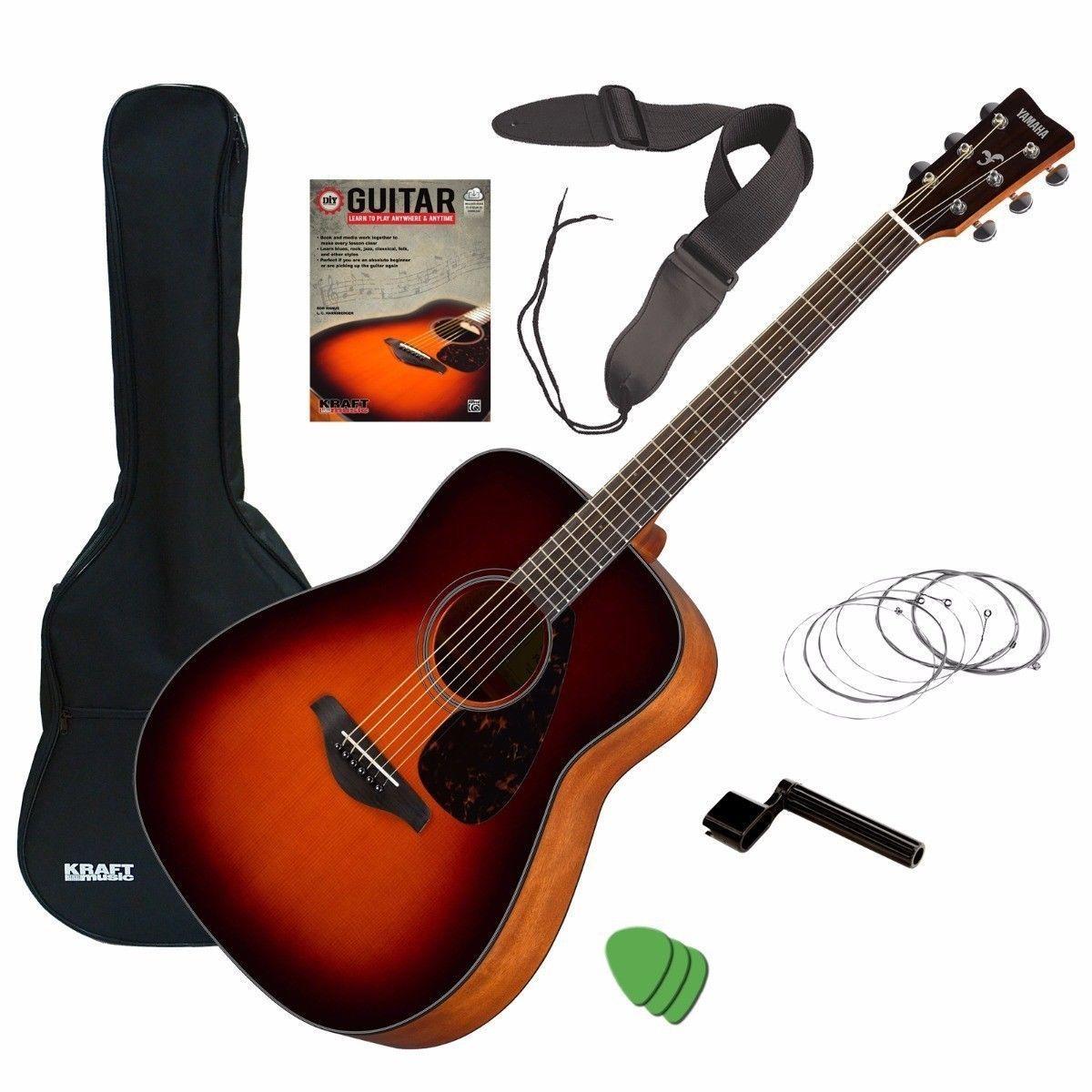 Yamaha Fg800 Acoustic Guitar Brown Sunburst Guitar Essentials Bundle Yamaha Guitar Guitar Acoustic Guitar