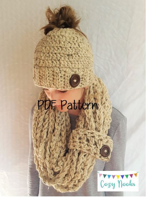 Chunky Messy Bun Hat And Scarf Pattern Messy Bun Beanie And