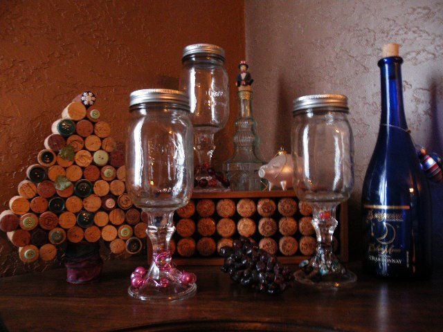 Redneck wine glasses with wine cork art.