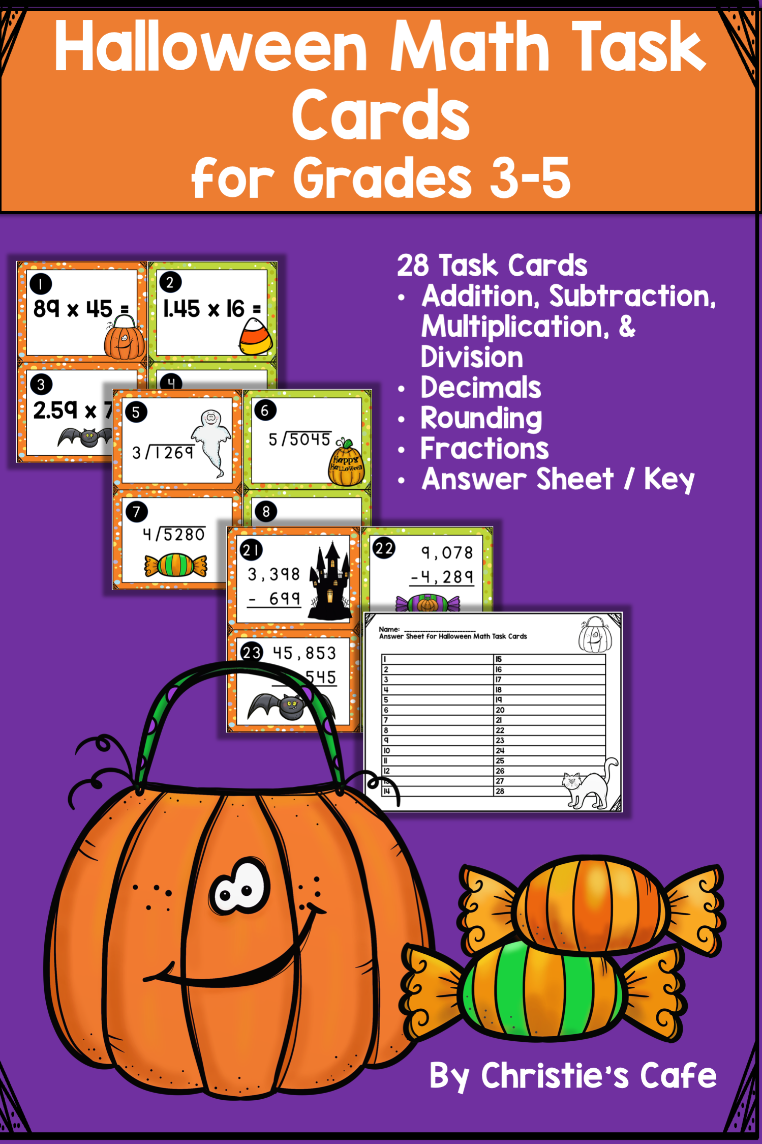 Halloween Math Task Cards Grades 3 5 With Images