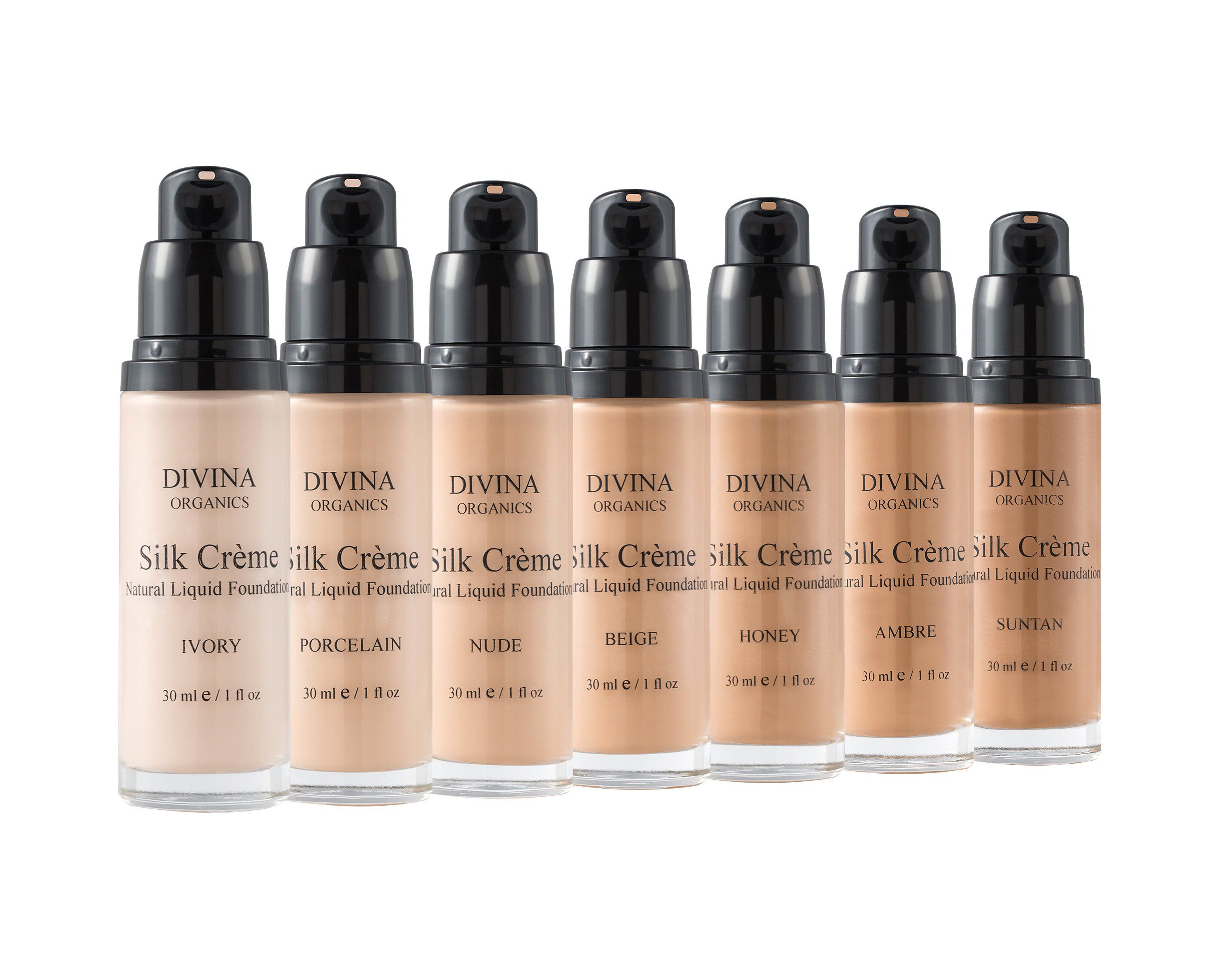 SILK CREME Natural Liquid Foundation, in 7 shades, with