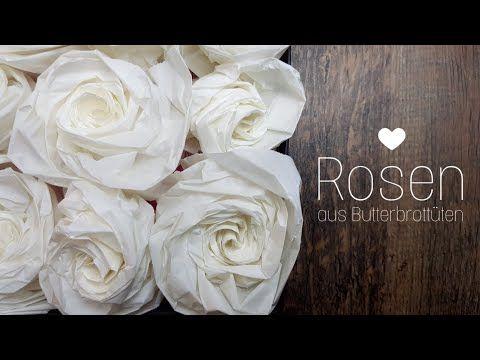 DIY Rosen aus Butterbrottüten | Butterbrotpapier | selbst machen | Basteln | Wohn & Deko Idee