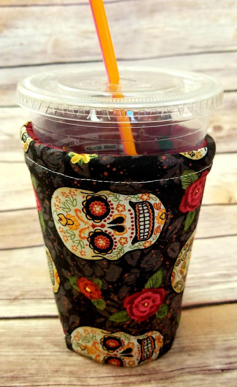 15 sugar skull w rose Ice coffee cozy visit