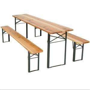 TECTAKE Table et bancs pliant en bois, Table de Jardin ...