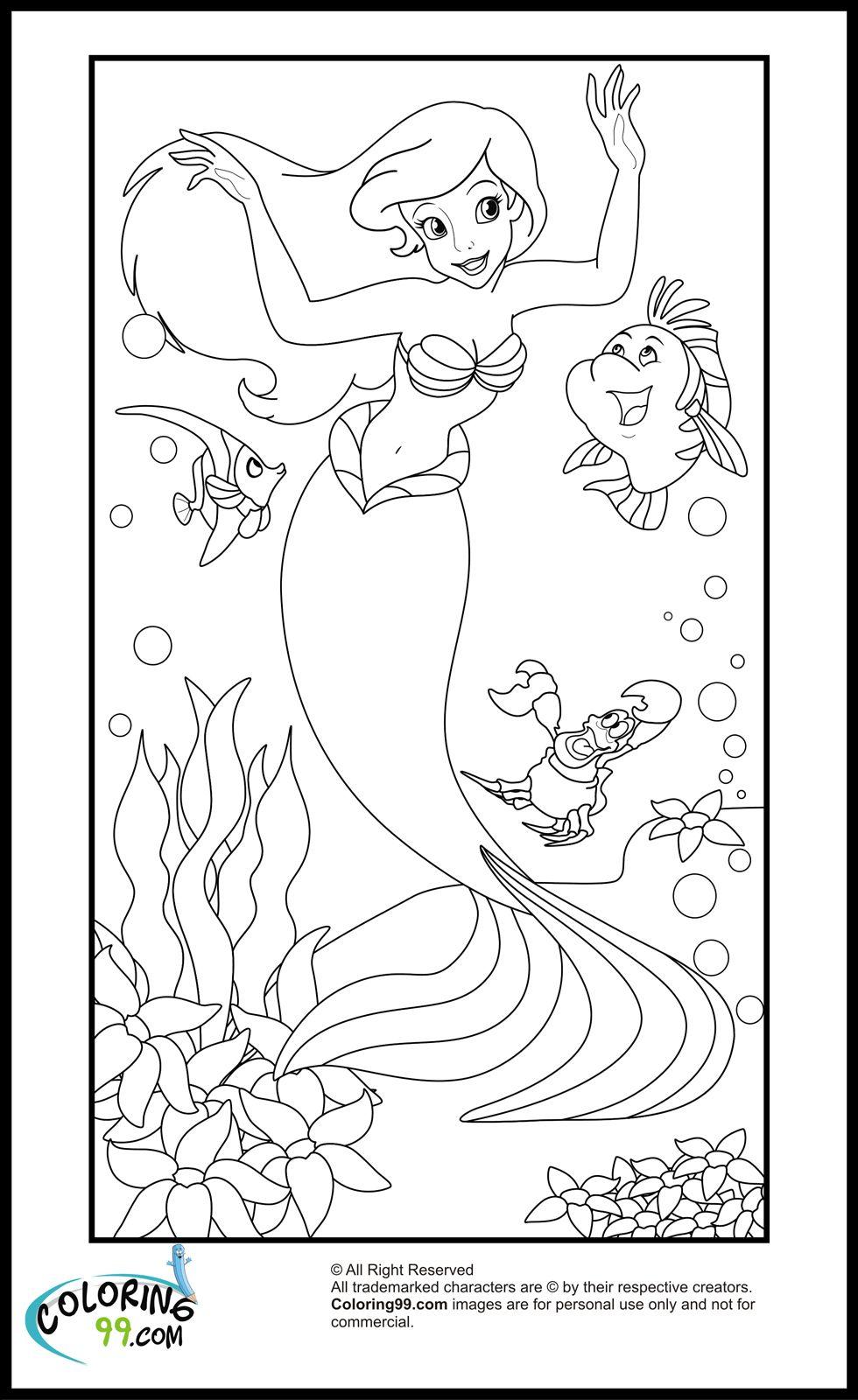 Disney Princess Ariel Coloring Pages | Team colors | Digi Stamps ...