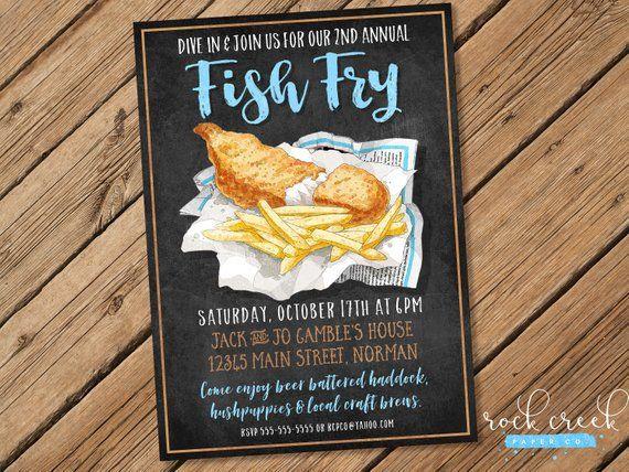 Fish Fry Invitation Chalkboard Fish Fry Fish Chips Party