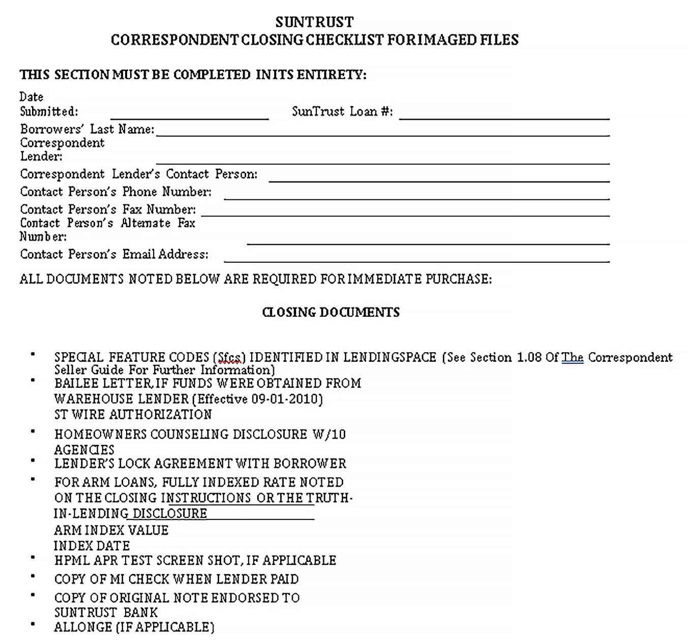 Closing Checklist Template Checklist Template Checklist Business Template Real estate closing checklist template