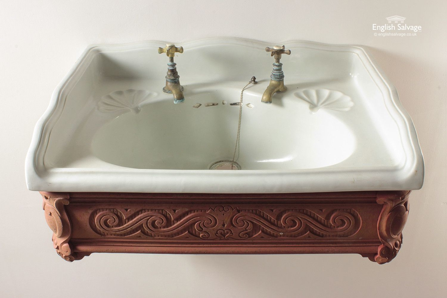 Shanks sink and stand reclaimed porcelain sinks and chrome stands - Victorian Wash Basin With Cast Bracket Cradle