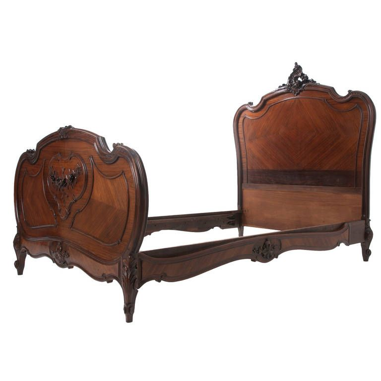 French 19th Century, Louis XV Rose Wood Queen Bed | Queen beds ...