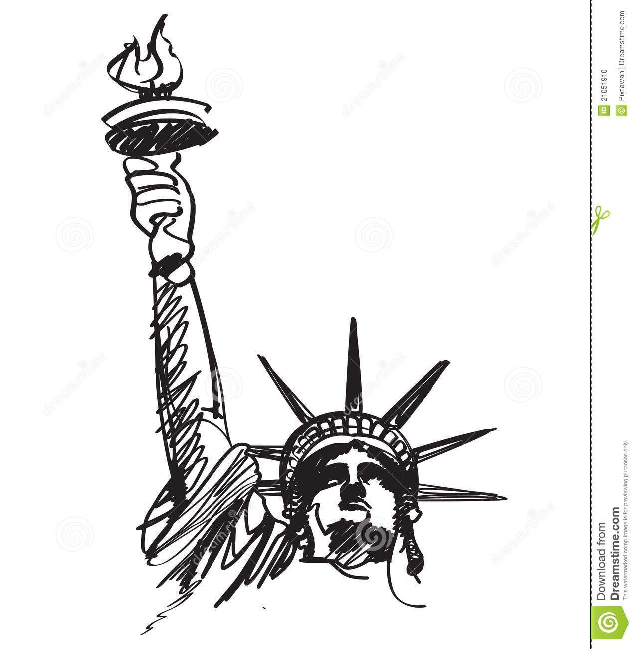 Statue Of Liberty Sketch Black And White