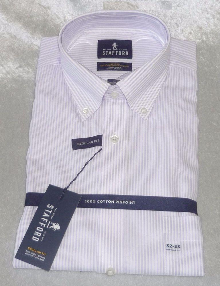 Stafford® Executive Non-Iron Cotton Pinpoint Oxford Dress Shirt ...