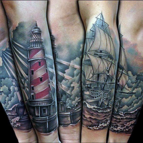 b08b3ee48 Realistic Mens Forearm Sleeve Lighthouse Tattoo With Ocean Ship