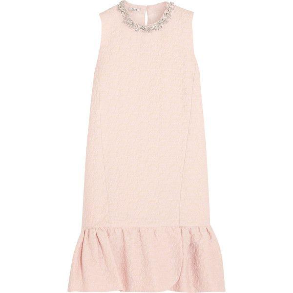 Miu Miu Embellished cotton-blend jacquard mini dress featuring polyvore, fashion, clothing, dresses, floral print dress, keyhole dress, pale pink dress, pink mini dress and pastel floral dress